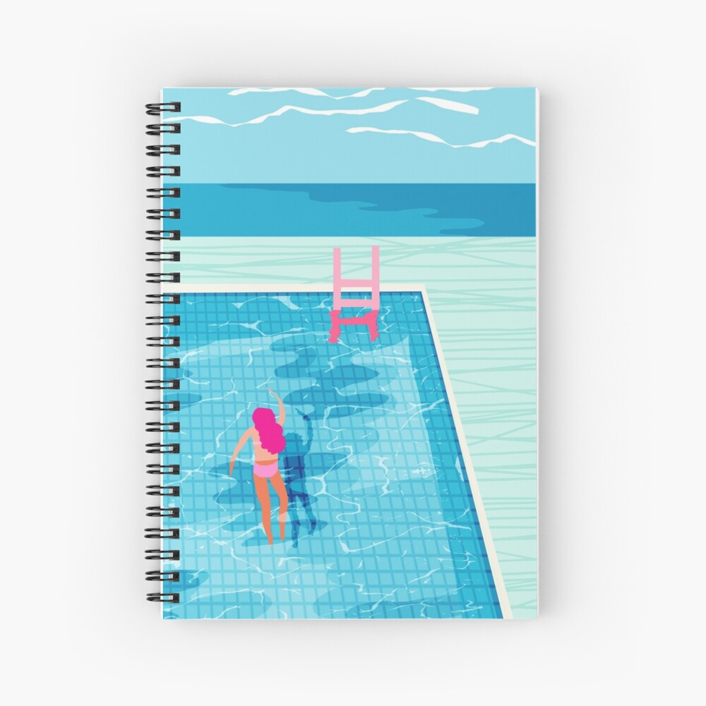 In Deep - abstract memphis throwback 1980s style retro neon palm springs simmer resort country club poolside vacation Spiral Notebook