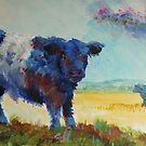 Belted galloway cow Dartmoor landscape painting by MikeJory