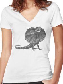 Frilled Lizard - Chlamydosaurus kingii ( Greyscale ) Women's Fitted V-Neck T-Shirt