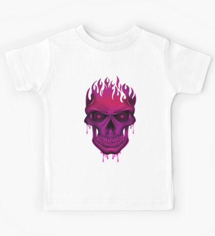 Flame Skull - Hot Pink Kids Clothes