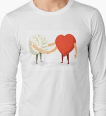 Brain and heart shaking hands Long Sleeve T-Shirt