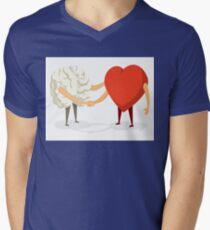 Brain and heart shaking hands Mens V-Neck T-Shirt