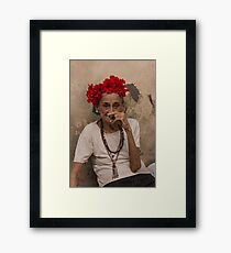 Old lady smoking cuban cigar in Havana Framed Print