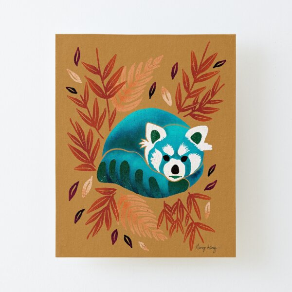 Red Panda - Blue Tone Canvas Mounted Print