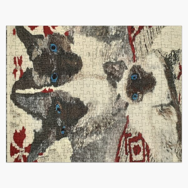 Siamese Cats an original woven tapestry by Cjscrafts - Landscape Jigsaw Puzzle