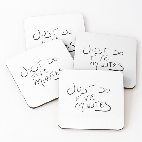 Just Do Five Minutes Motivational Quote Coasters (Set of 4)