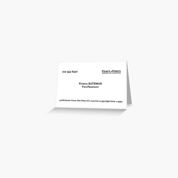 American Psycho - Patrick Bateman Business Card Greeting Card