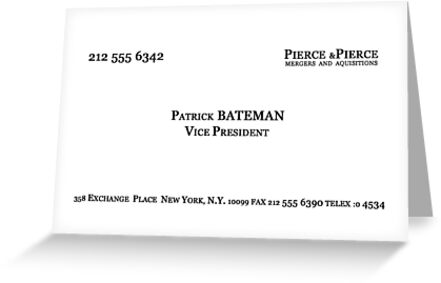 American psycho patrick bateman business card greeting cards by american psycho patrick bateman business card by skanuj colourmoves