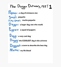 The Doggo Dictionary, Part 1:  A Smol Pupper Comic Photographic Print