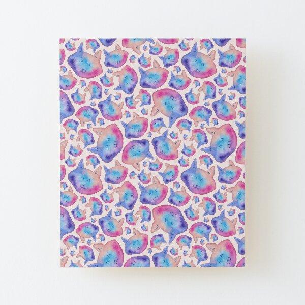 Rainbow Cats Pattern Wood Mounted Print