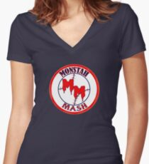 Monstah Mash goes Red Sox Women's Fitted V-Neck T-Shirt
