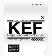 KEF Reykjavik International Airport Call letters Poster