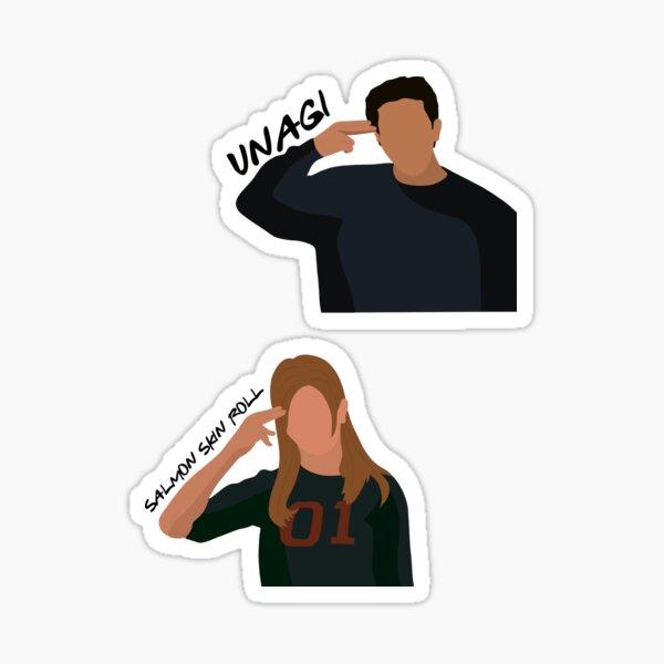 Ross y Rachel Unagi Pegatina