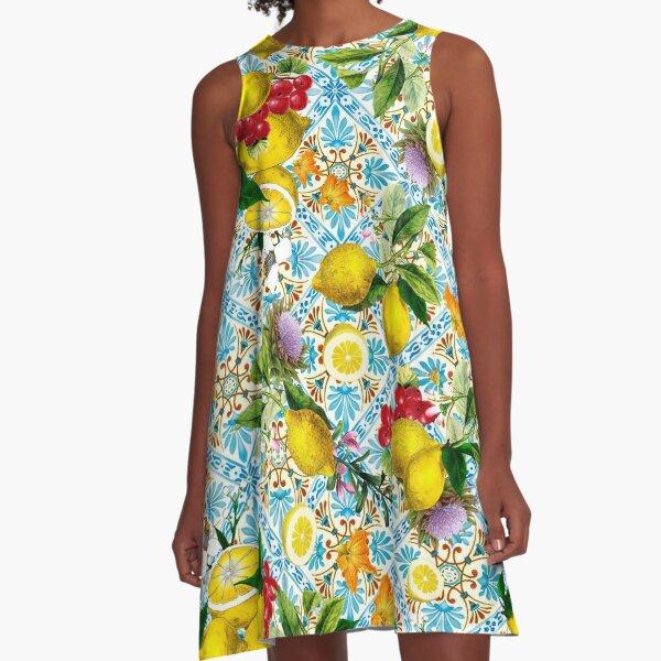 Sicilian lemons and romantic tiles A-Line Dress