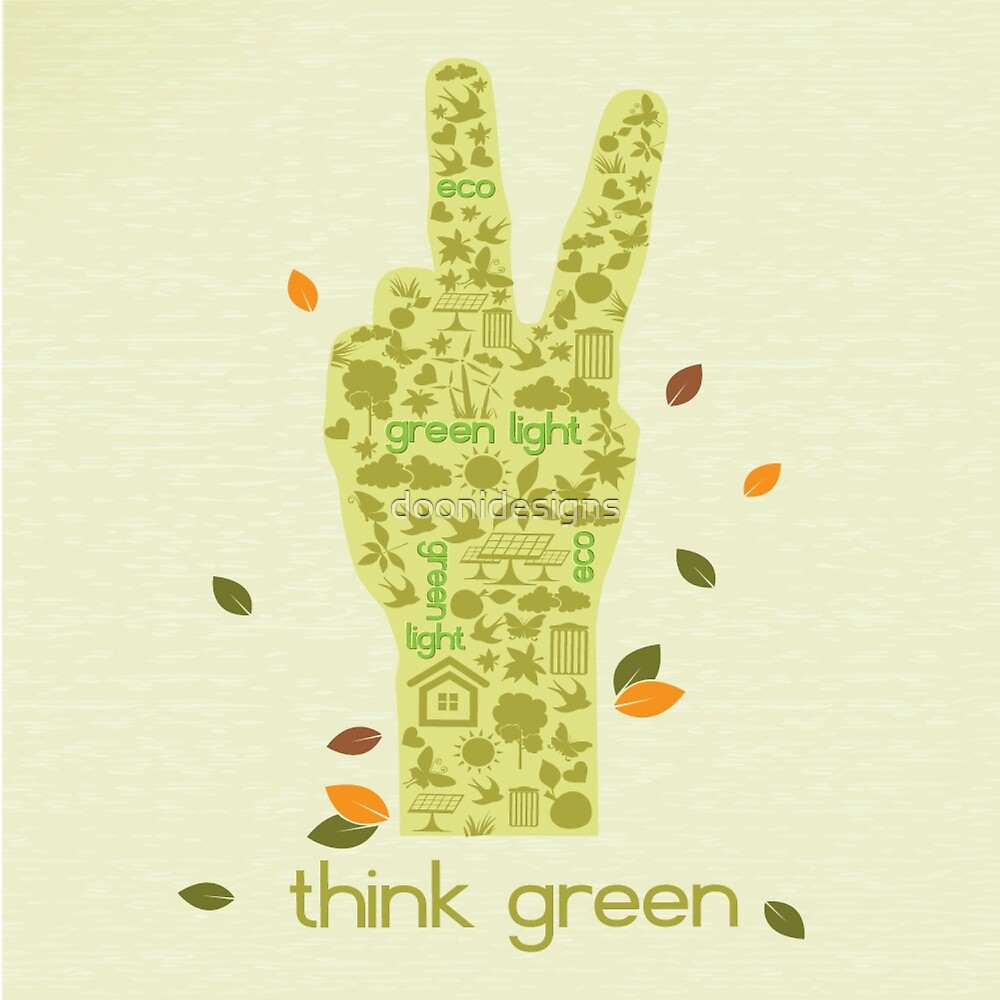 Earth Day Eco-Friendly Environmental Peace Hand Think Green\