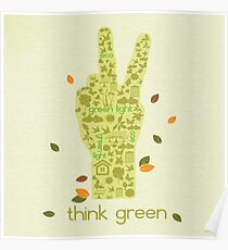 Earth Day Eco-Friendly Environmental Peace Hand Think Green Poster