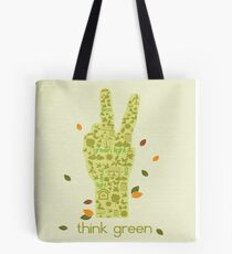 Earth Day Eco-Friendly Environmental Peace Hand Think Green Tote Bag