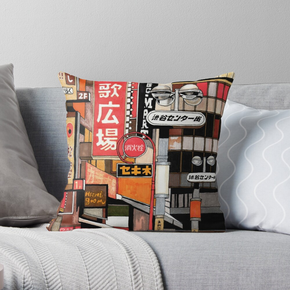 Tokyo Street Signs Throw Pillow