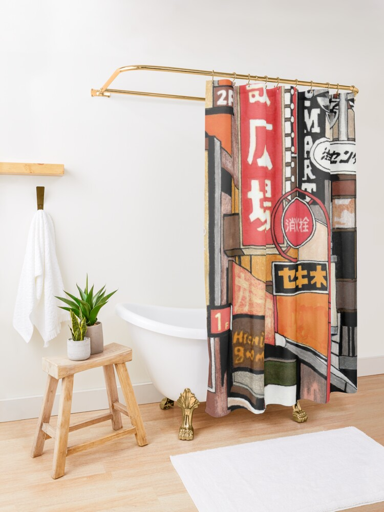 Alternate view of Tokyo Street Signs Shower Curtain
