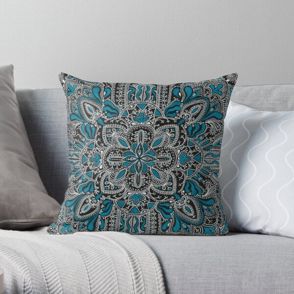 Black, white, turquoise mandala pattern  Throw Pillow