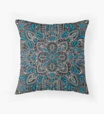 Black, white, turquoise mandala pattern  Throw Pillow