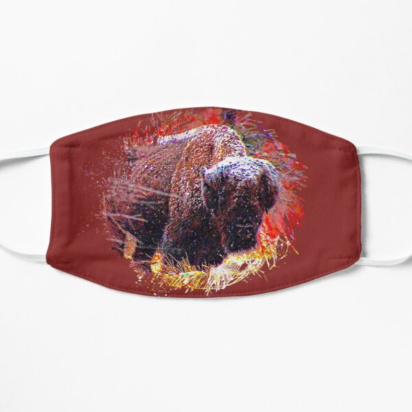 Buffalo in the Snow Front view Wichita Mountain Wildlife Refuge Oklahoma Red Autumn Leaves Mask