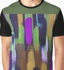 Purple Green Brown Lines Brush Strokes Abstract Graphic T-Shirt