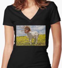 THUGGA THE GOAT Women's Fitted V-Neck T-Shirt