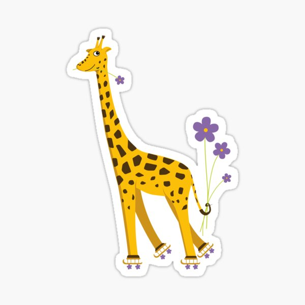 Purple Cartoon Funny Giraffe Roller Skating Sticker