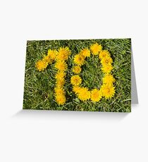 number ten drawn with dandelion on the lawn Greeting Card