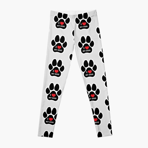 i love my dog paw with Leggings