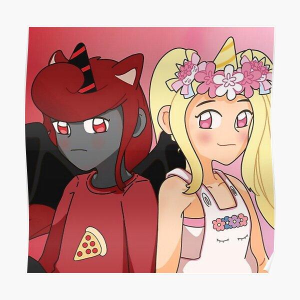 Sanna and Moody IamSanna Loves Unicorns Roblox BLACK Poster