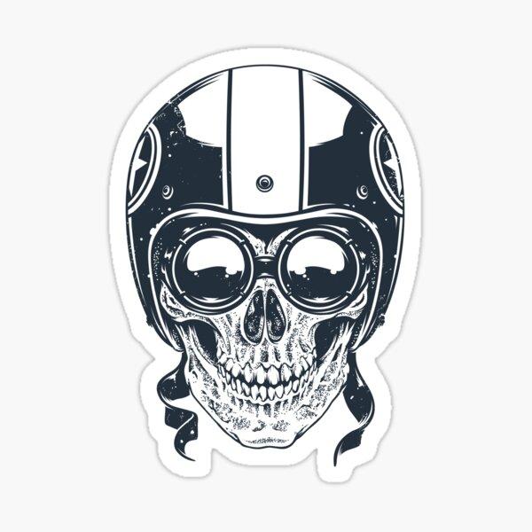 Skull in Racer Helmet Sticker