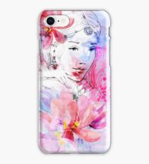 Beautiful girl with a bouquet of flowers iPhone Case/Skin
