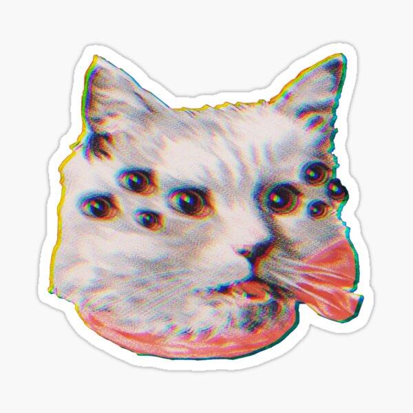 Glitchy Spider Cat Cutout Sticker