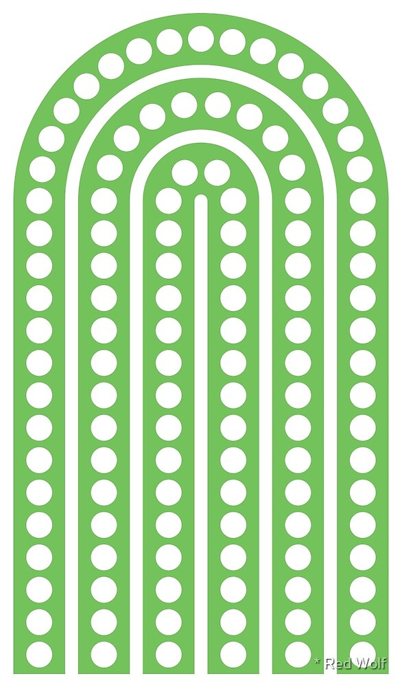 Geometric Pattern: Arch Dot: White/Green by * Red Wolf