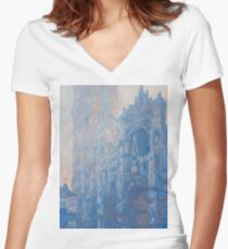 1894-Claude Monet-Rouen Cathedral Façade and Tour d'Albane (Morning Effect)-74 x 106 Women's Fitted V-Neck T-Shirt