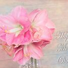 Pink Amaryllis Happy Mother's Day Card by daphsam