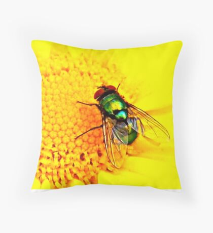 Green Bottle Fly on Yellow Flower Throw Pillow