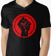 Red Socialist Fist Men's V-Neck T-Shirt