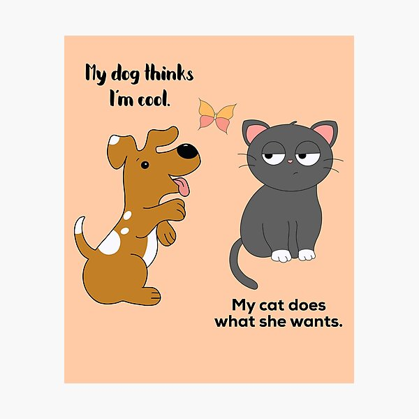 Cat Dog Art Print Dogs and Cats Friends Veterinarian Gift Friendship Animal Lover Gifts Anthropomorphic Rescue Animals Weird Art