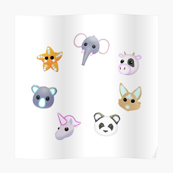 Kids neon pets collection Poster