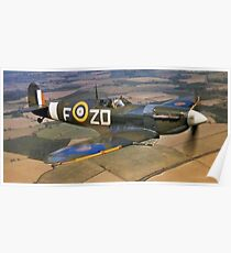 SPITFIRE, British, Airplane, Fighter, WWII, 1942, Spitfire VB of 222 Squadron Poster