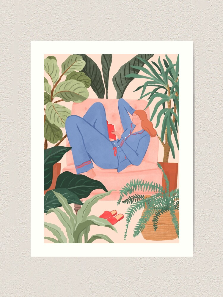 Alternate view of Reading with The Plants Art Print