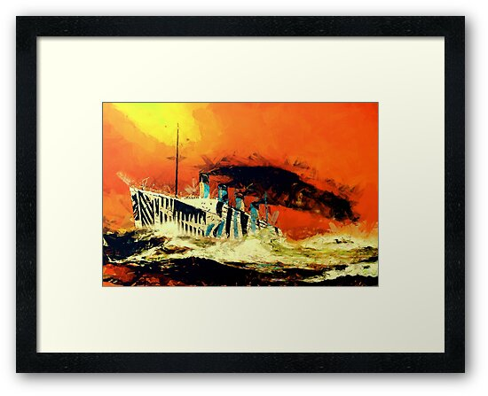 RMS Titanic's Senior Sister RMS Olympic in the Style of the Masters by Dennis Melling