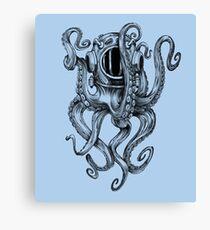Octopus Scuba Diver Helmet Canvas Print