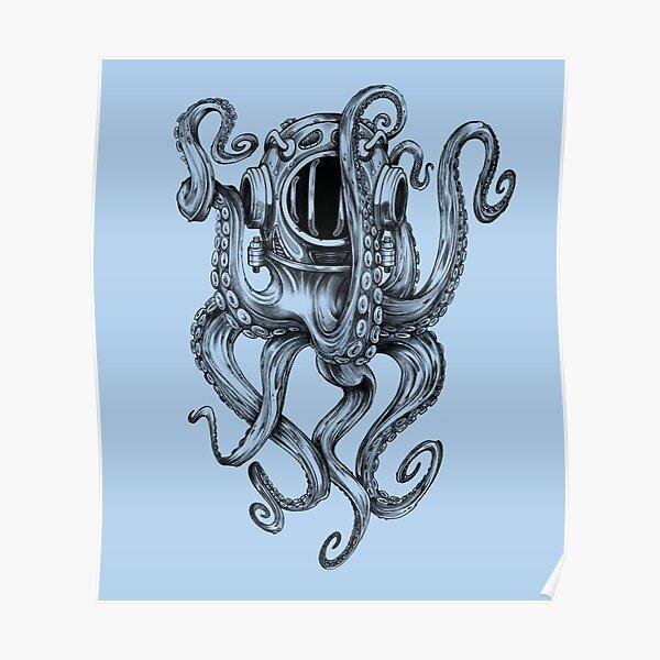 Octopus Scuba Diver Helmet Poster