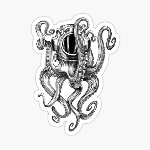 la pieuvre semble à l'aise à l'intérieur de ce casque de plongée vintage! Si vous êtes un fan de Pirates des Caraïbes ou du Kraken Sticker