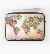 World map wallpaper laptop sleeves redbubble world map floral 4 laptop sleeve gumiabroncs Choice Image