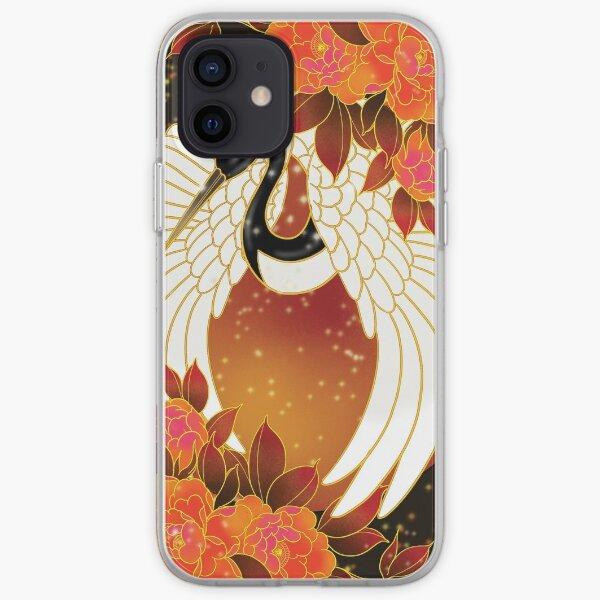 Magic crane and peonies iPhone Soft Case